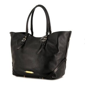 SOLD***BURBERRY SHOPPING BAG IN BLACK LEATHER
